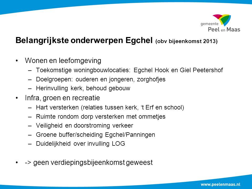 Belangrijkste onderwerpen Egchel (obv bijeenkomst 2013)