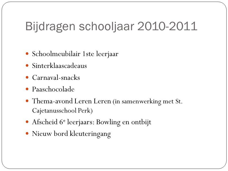 Bijdragen schooljaar 2010-2011