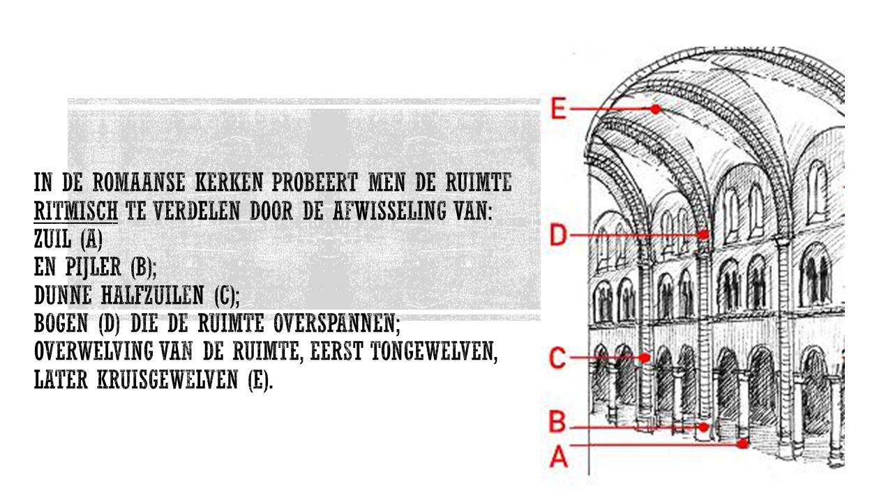 In de Romaanse kerken probeert men de ruimte ritmisch te verdelen door de afwisseling van: zuil (A) en pijler (B); dunne halfzuilen (C); bogen (D) die de ruimte overspannen; overwelving van de ruimte, eerst tongewelven, later kruisgewelven (E).