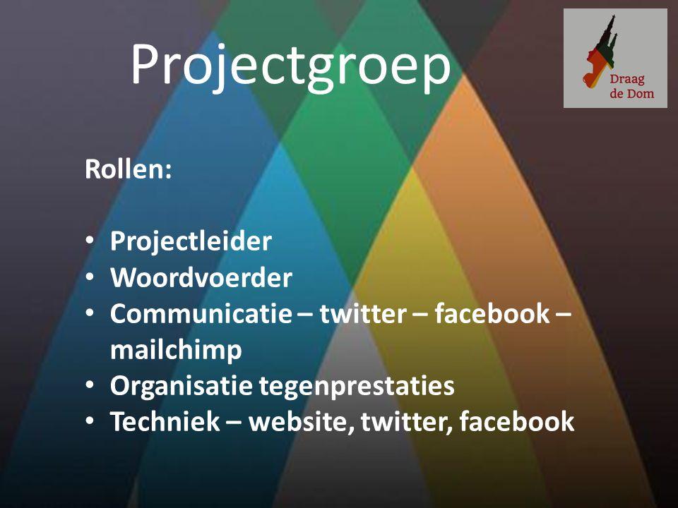 Projectgroep Rollen: Projectleider Woordvoerder