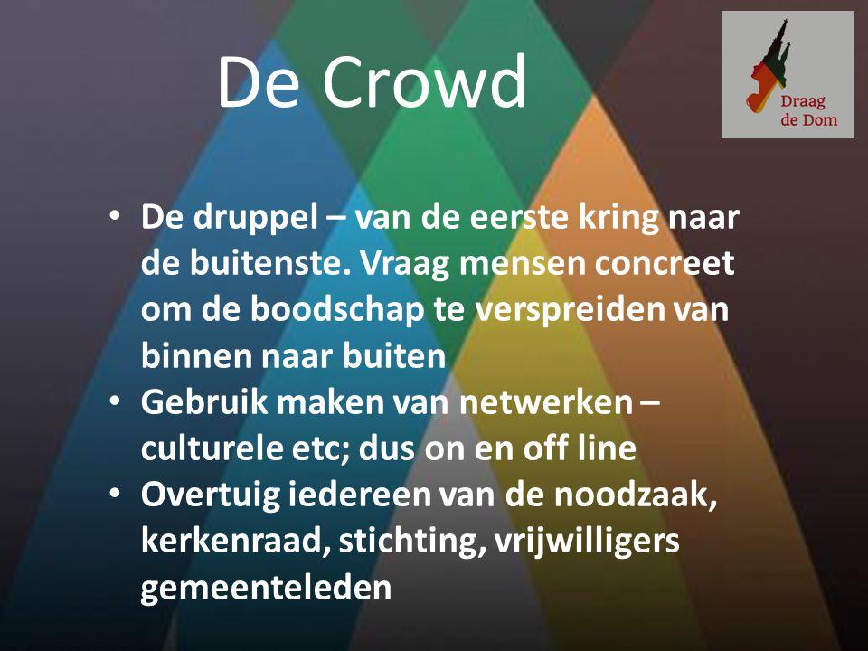 De Crowd De druppel – van de eerste kring naar de buitenste. Vraag mensen concreet om de boodschap te verspreiden van binnen naar buiten.