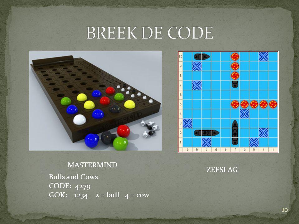 BREEK DE CODE MASTERMIND ZEESLAG Bulls and Cows CODE: 4279