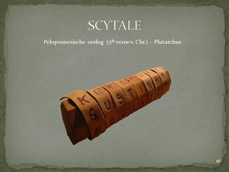 SCYTALE Peloponnesische oorlog (5de eeuw v. Chr.) - Plutarchus