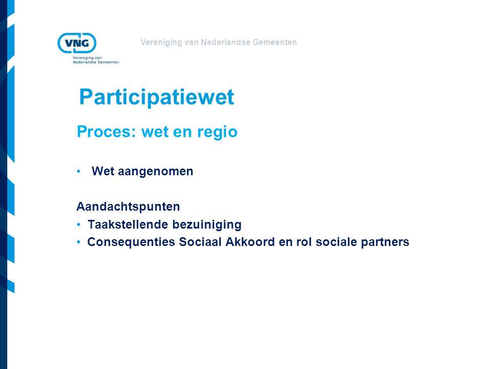 Participatiewet Proces: wet en regio Wet aangenomen Aandachtspunten
