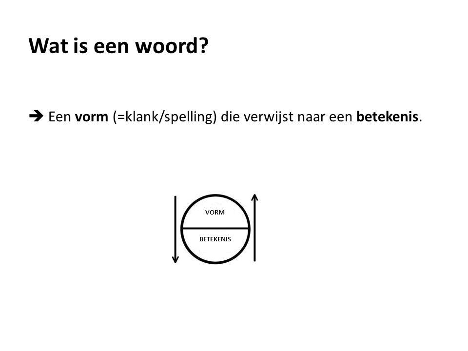 Wat is een woord.  Een vorm (=klank/spelling) die verwijst naar een betekenis.