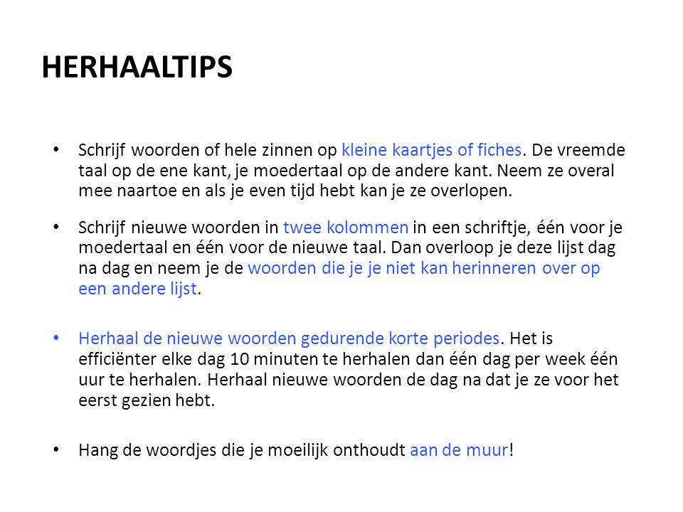 HERHAALTIPS