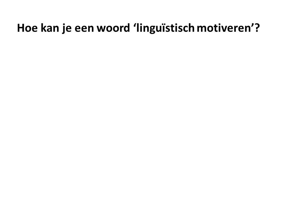 Hoe kan je een woord 'linguïstisch motiveren'