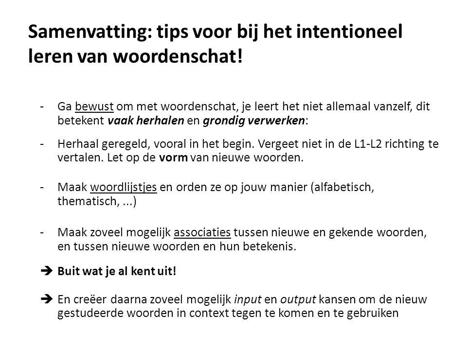 Samenvatting: tips voor bij het intentioneel leren van woordenschat!