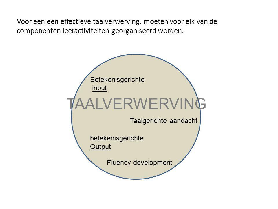 Voor een een effectieve taalverwerving, moeten voor elk van de componenten leeractiviteiten georganiseerd worden.