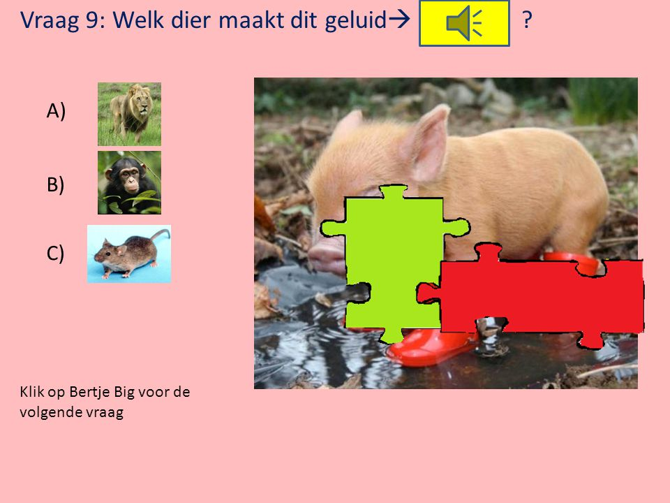Vraag 9: Welk dier maakt dit geluid