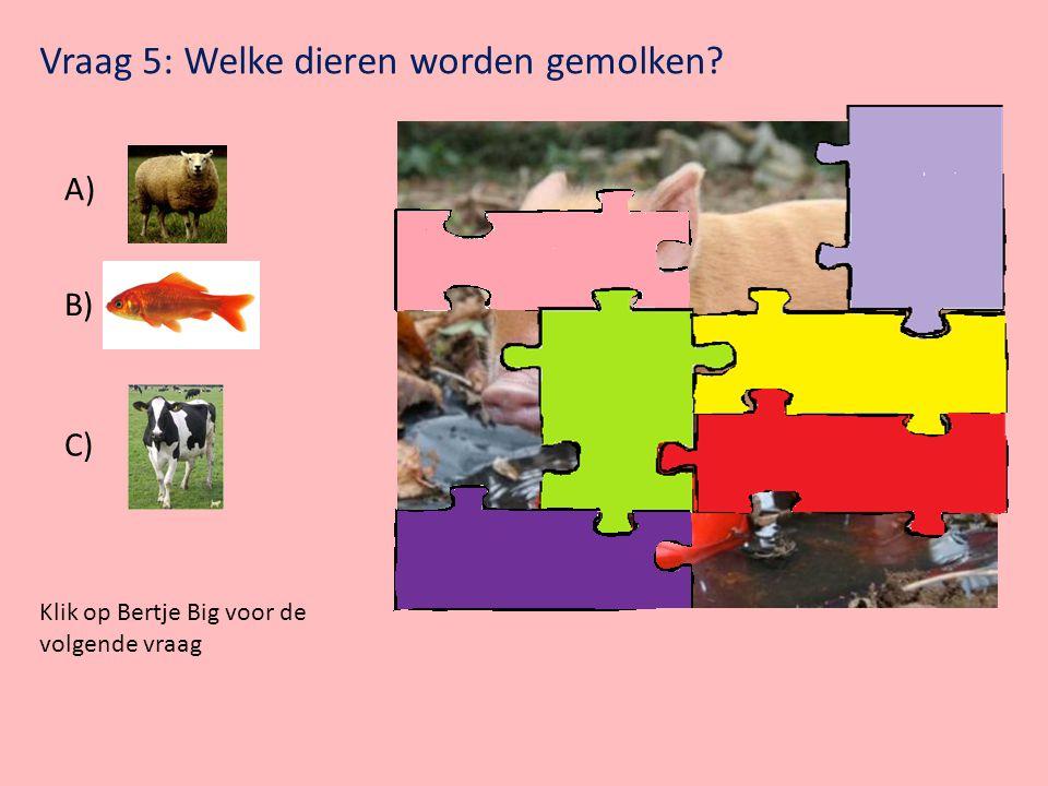 Vraag 5: Welke dieren worden gemolken