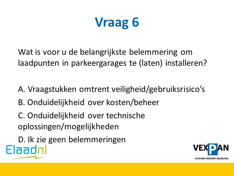 Vraag 6 Wat is voor u de belangrijkste belemmering om laadpunten in parkeergarages te (laten) installeren