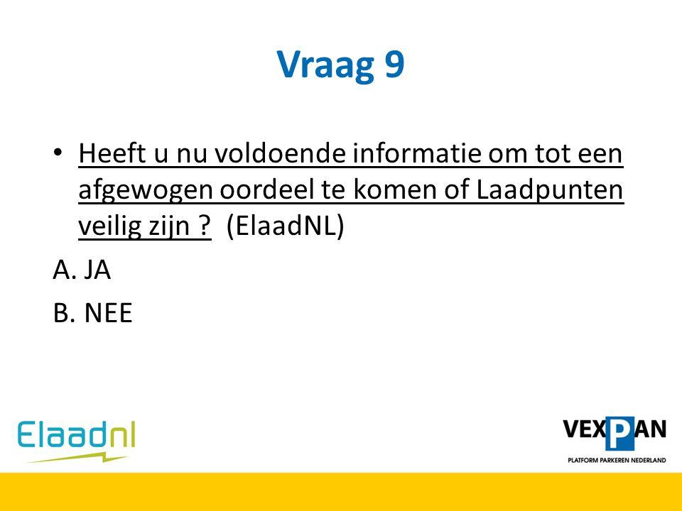 Vraag 9 Heeft u nu voldoende informatie om tot een afgewogen oordeel te komen of Laadpunten veilig zijn (ElaadNL)