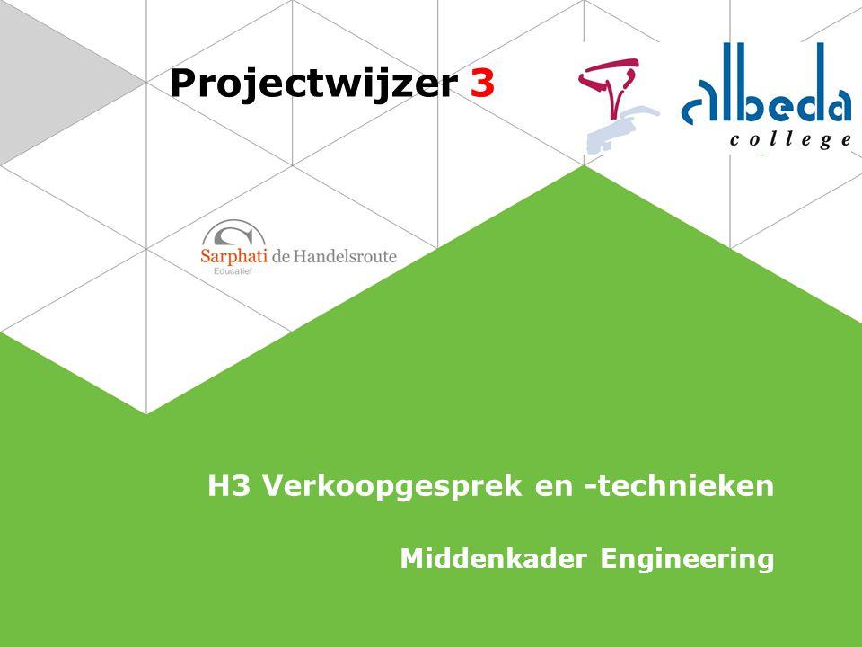 Projectwijzer 3 H3 Verkoopgesprek en -technieken