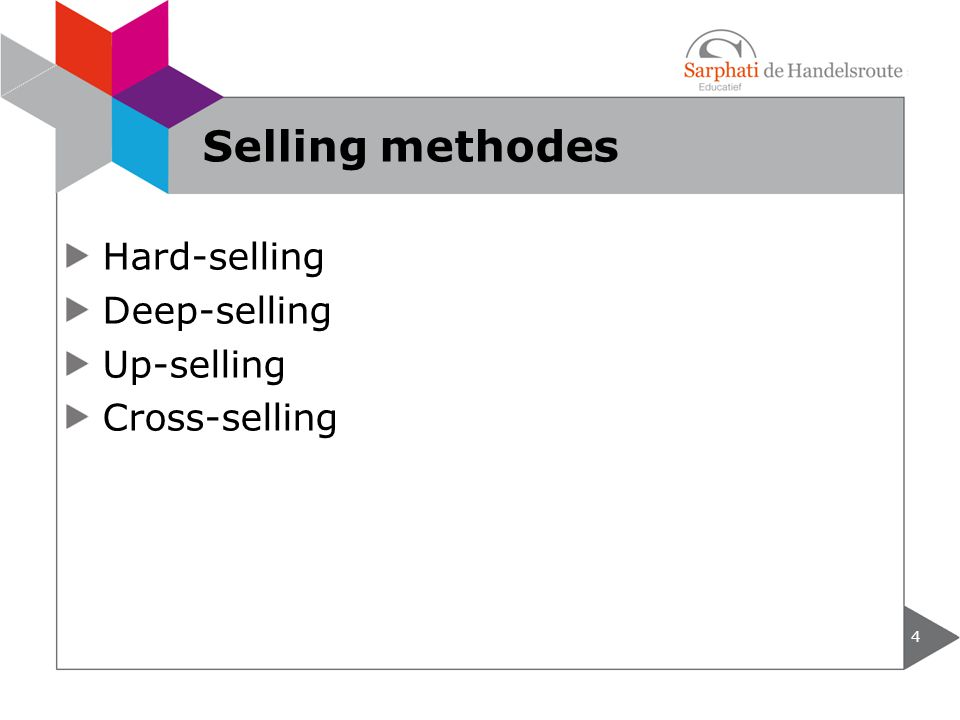 Selling methodes Hard-selling Deep-selling Up-selling Cross-selling