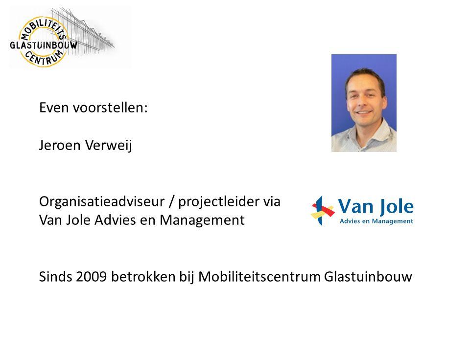 Even voorstellen: Jeroen Verweij. Organisatieadviseur / projectleider via. Van Jole Advies en Management.