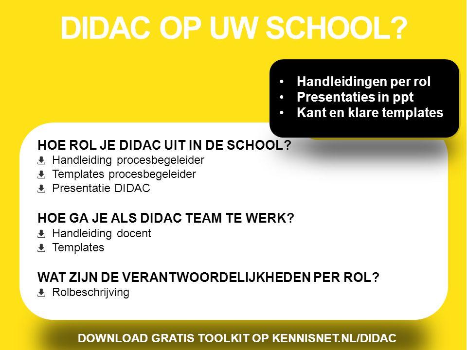 DIDAC OP UW SCHOOL Handleidingen per rol Presentaties in ppt