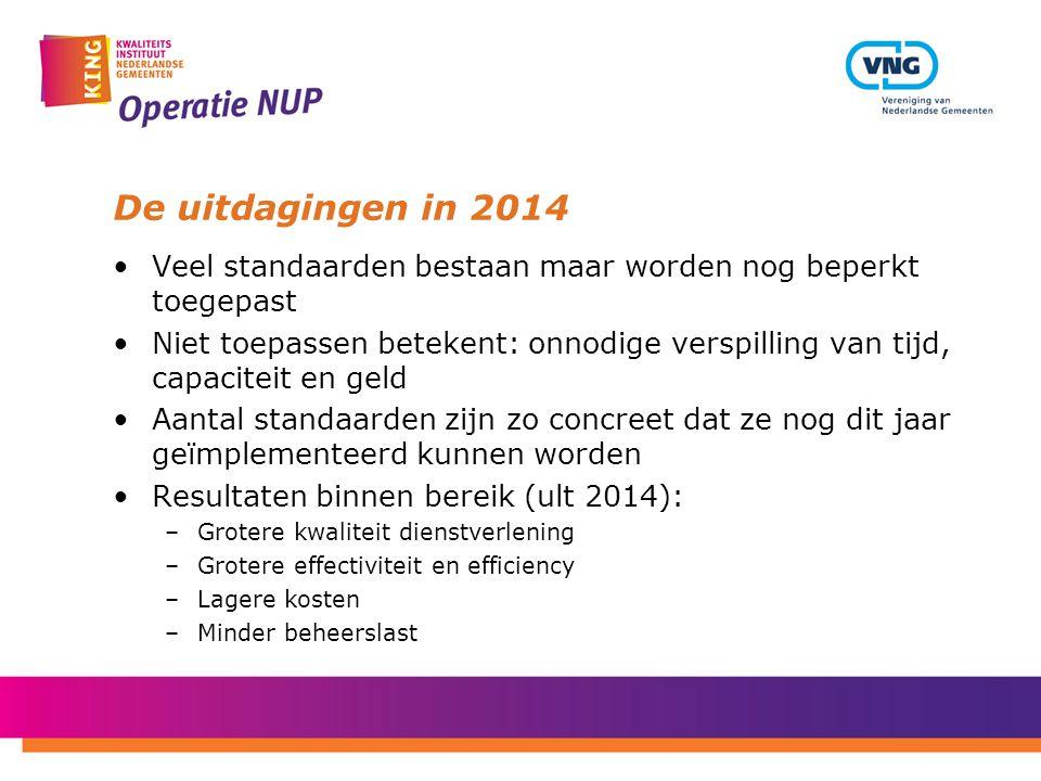 De uitdagingen in 2014 Veel standaarden bestaan maar worden nog beperkt toegepast.