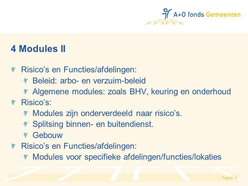 4 Modules II Risico's en Functies/afdelingen: