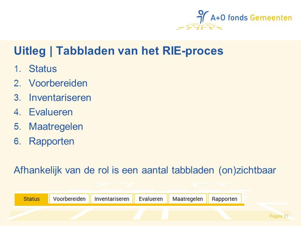 Uitleg | Tabbladen van het RIE-proces