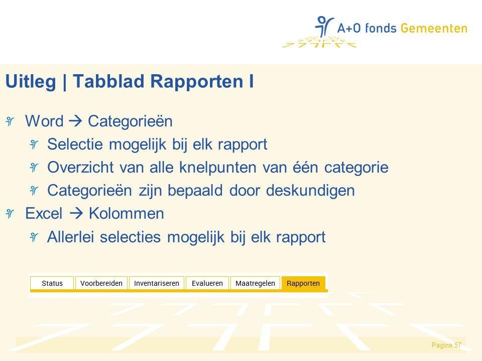 Uitleg | Tabblad Rapporten I