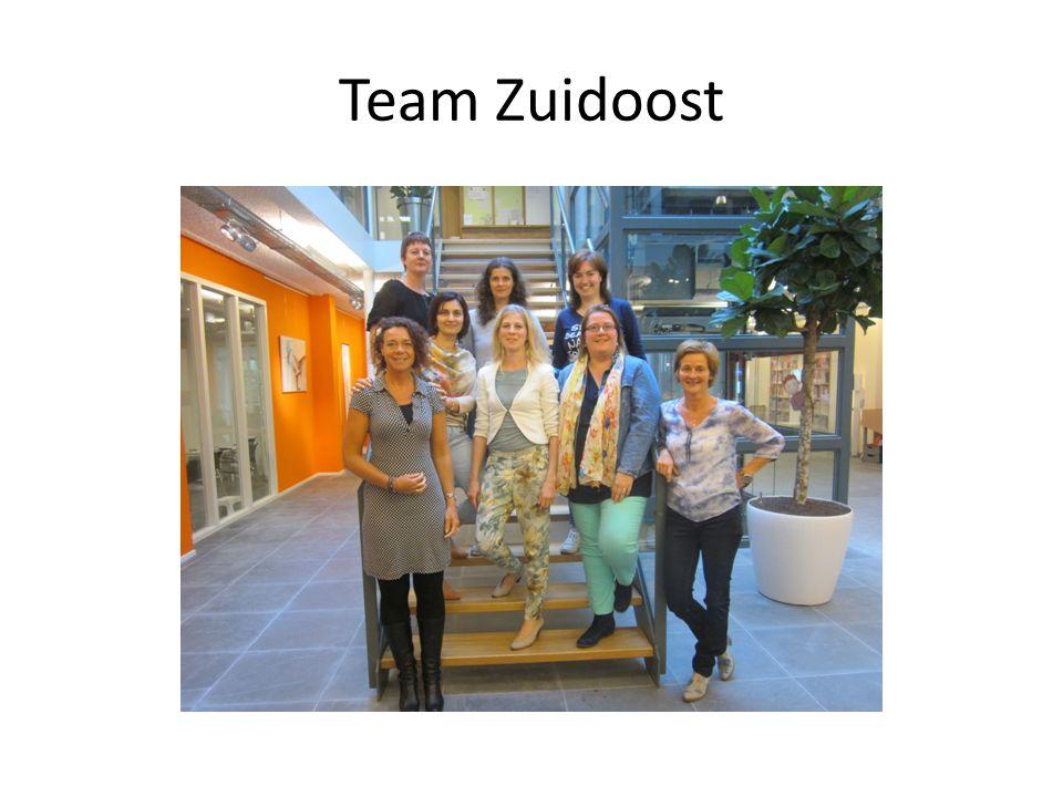 Team Zuidoost Lieuwkje, Laurette, Linda, Eveline, Lusine, Anna, Petra en Barbara.