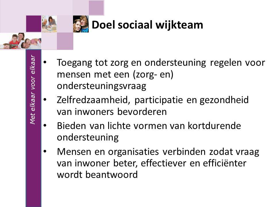 Met elkaar voor elkaar Doel sociaal wijkteam. Toegang tot zorg en ondersteuning regelen voor mensen met een (zorg- en) ondersteuningsvraag.