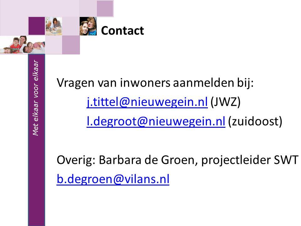 Vragen van inwoners aanmelden bij: j.tittel@nieuwegein.nl (JWZ)