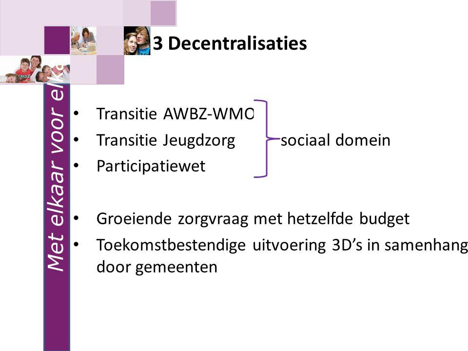 3 Decentralisaties Met elkaar voor elkaar Transitie AWBZ-WMO