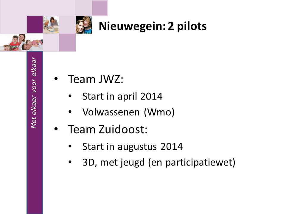 Nieuwegein: 2 pilots Team JWZ: Team Zuidoost: Start in april 2014
