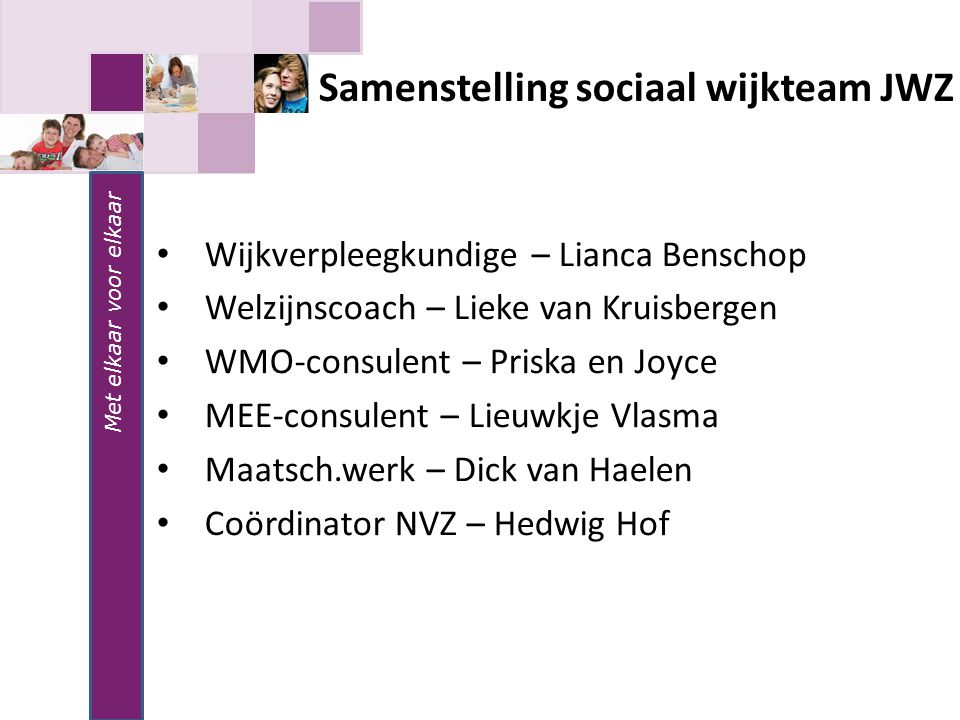 Samenstelling sociaal wijkteam JWZ