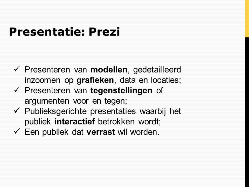 Presentatie: Prezi Presenteren van modellen, gedetailleerd inzoomen op grafieken, data en locaties;