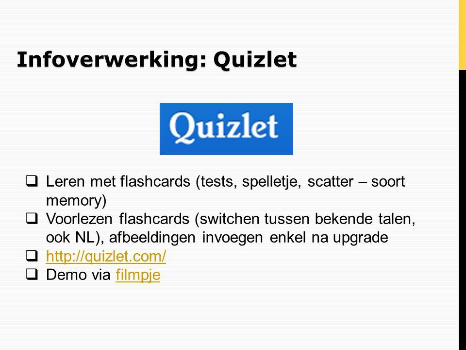 Infoverwerking: Quizlet