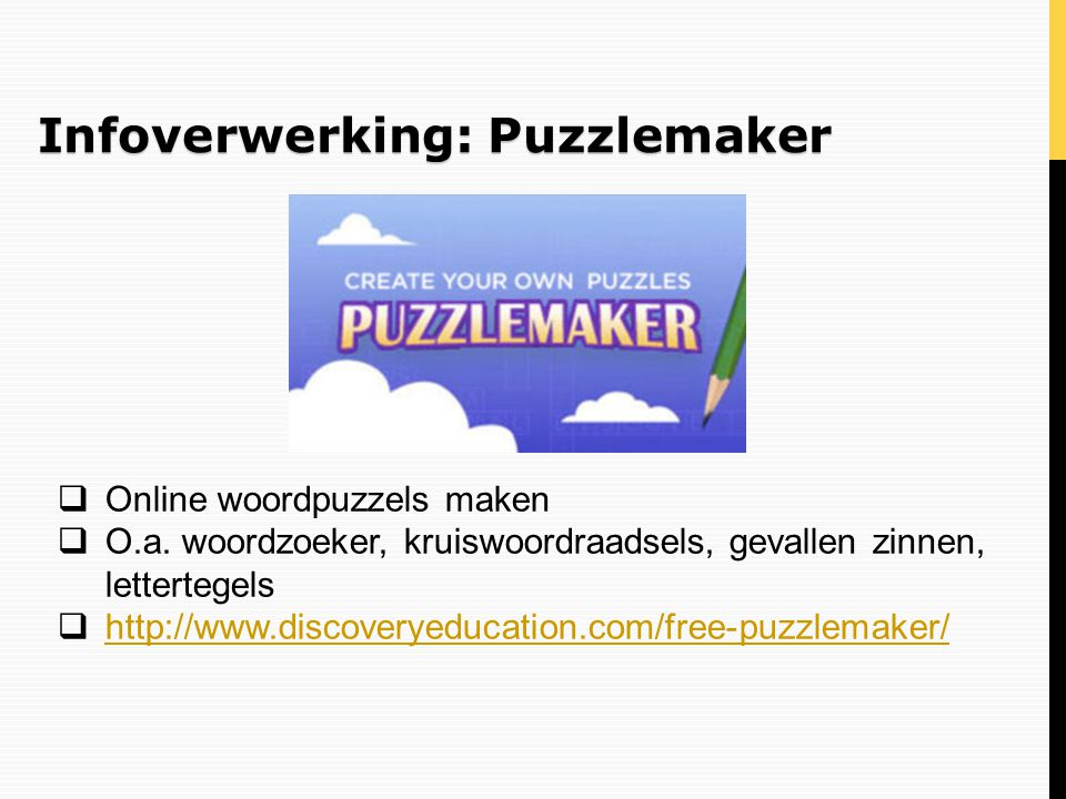 Infoverwerking: Puzzlemaker