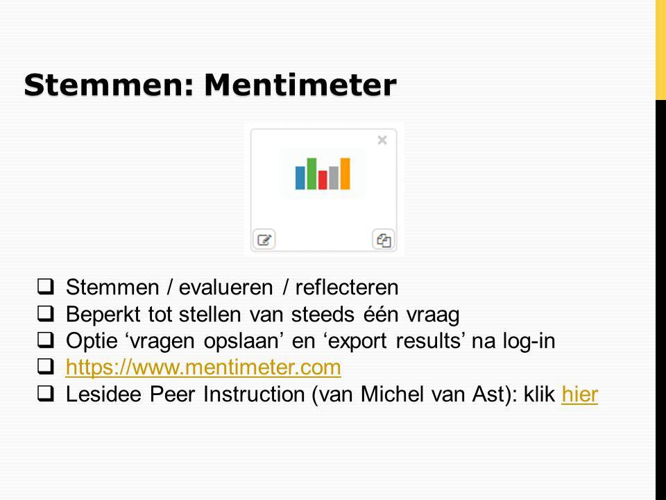 Stemmen: Mentimeter Stemmen / evalueren / reflecteren