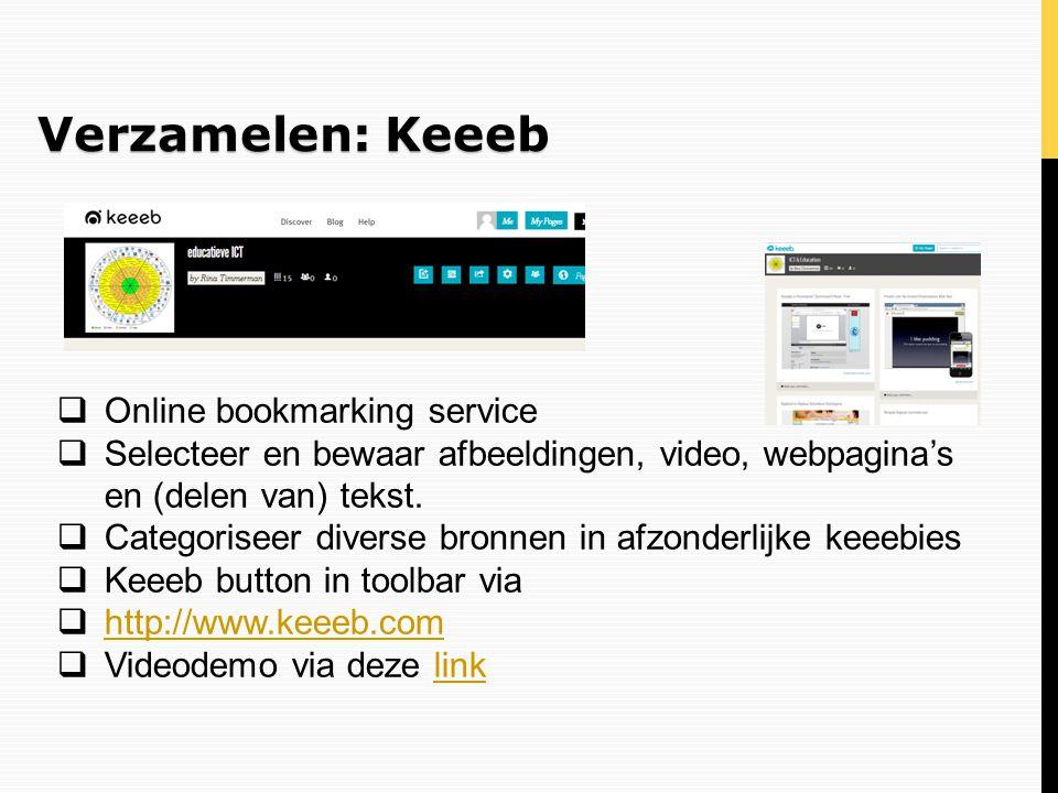 Verzamelen: Keeeb Online bookmarking service