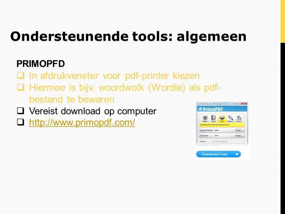 Ondersteunende tools: algemeen