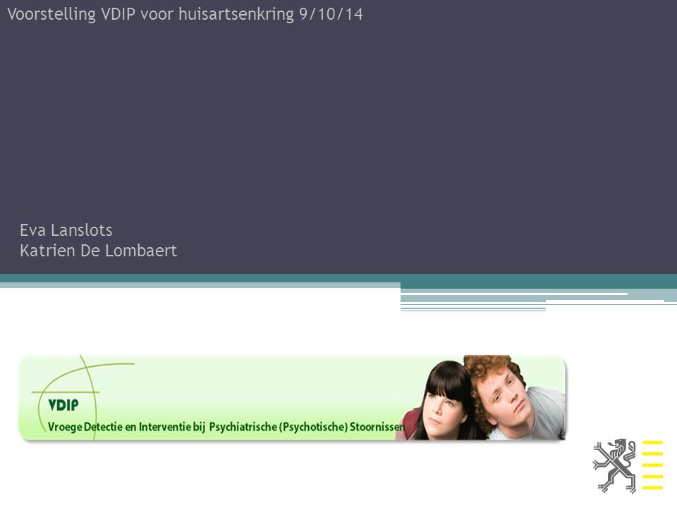 Voorstelling VDIP voor huisartsenkring 9/10/14
