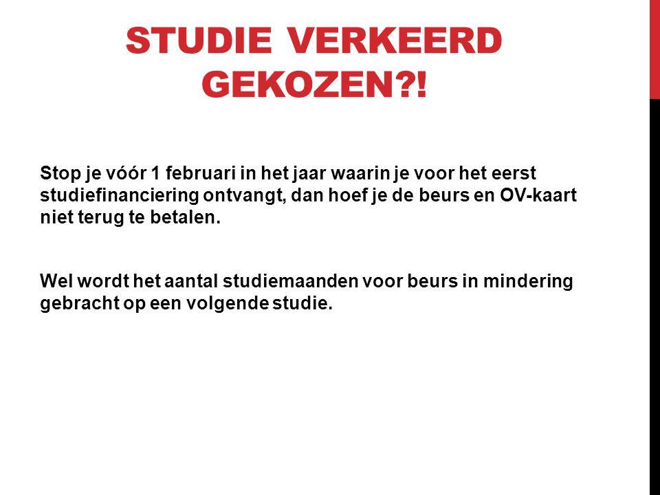 Studie verkeerd gekozen !