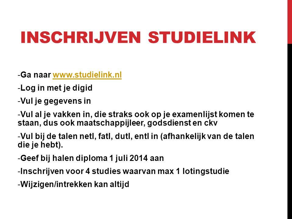 Inschrijven studielink