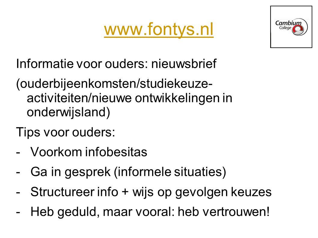 www.fontys.nl Informatie voor ouders: nieuwsbrief