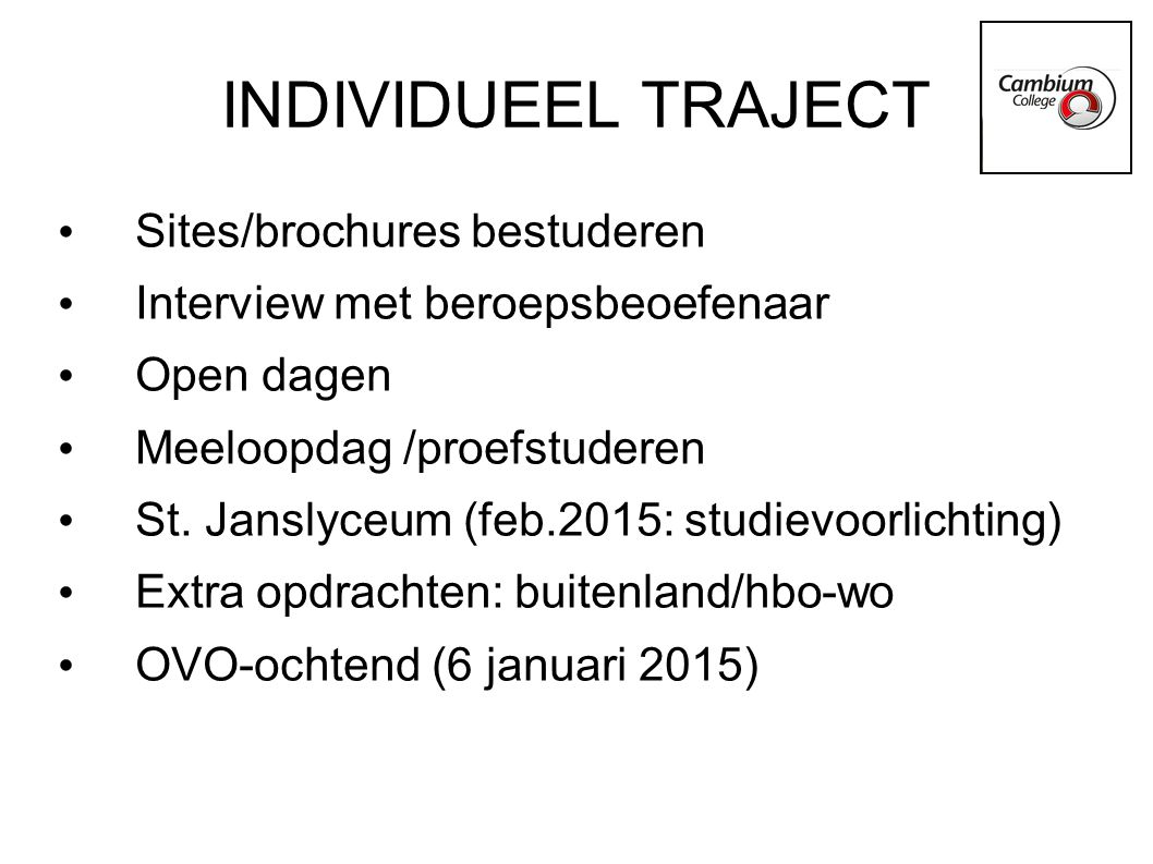 INDIVIDUEEL TRAJECT Sites/brochures bestuderen