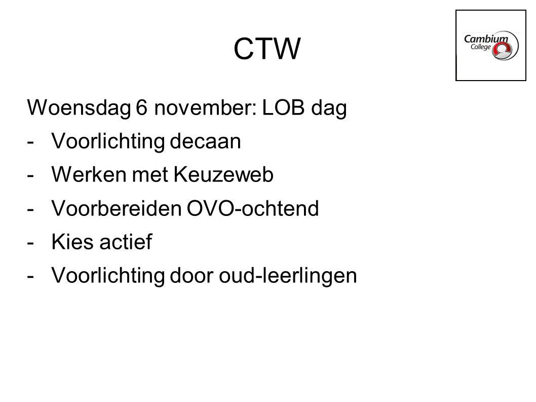 CTW Woensdag 6 november: LOB dag Voorlichting decaan