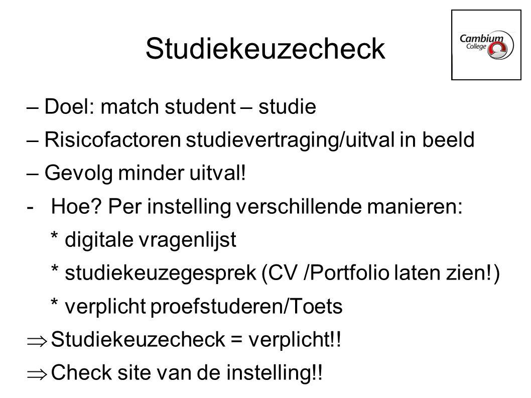 Studiekeuzecheck – Doel: match student – studie