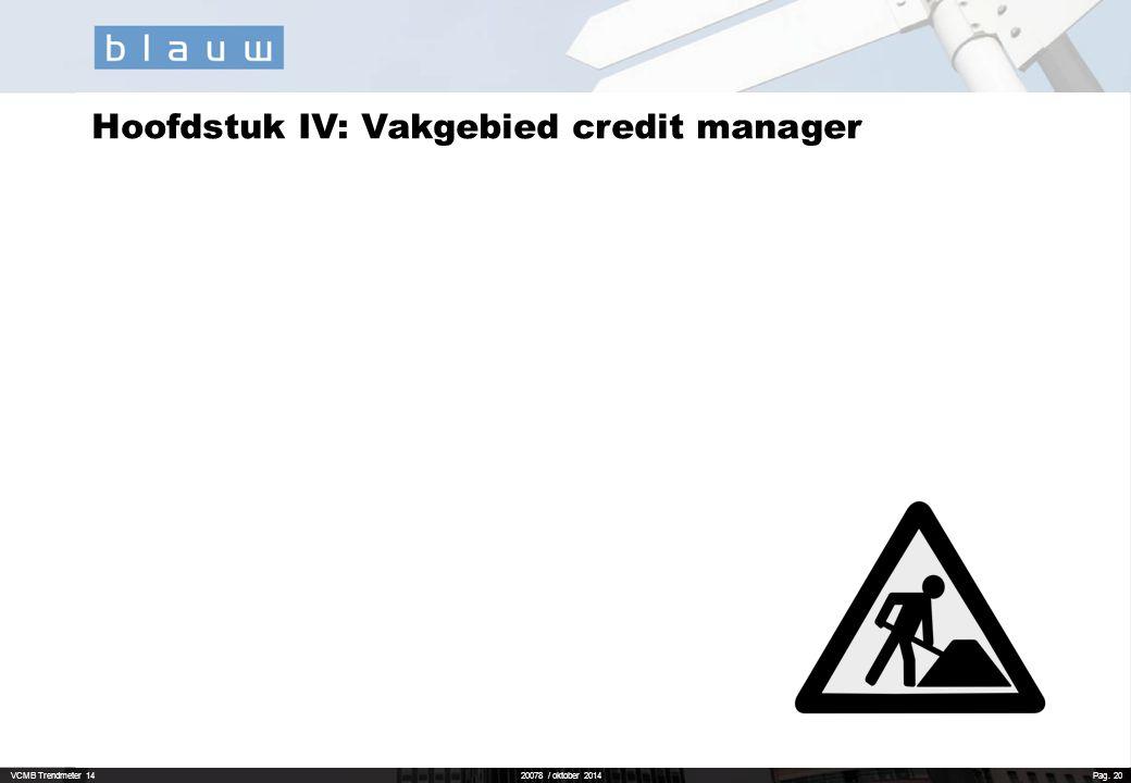 Hoofdstuk IV: Vakgebied credit manager