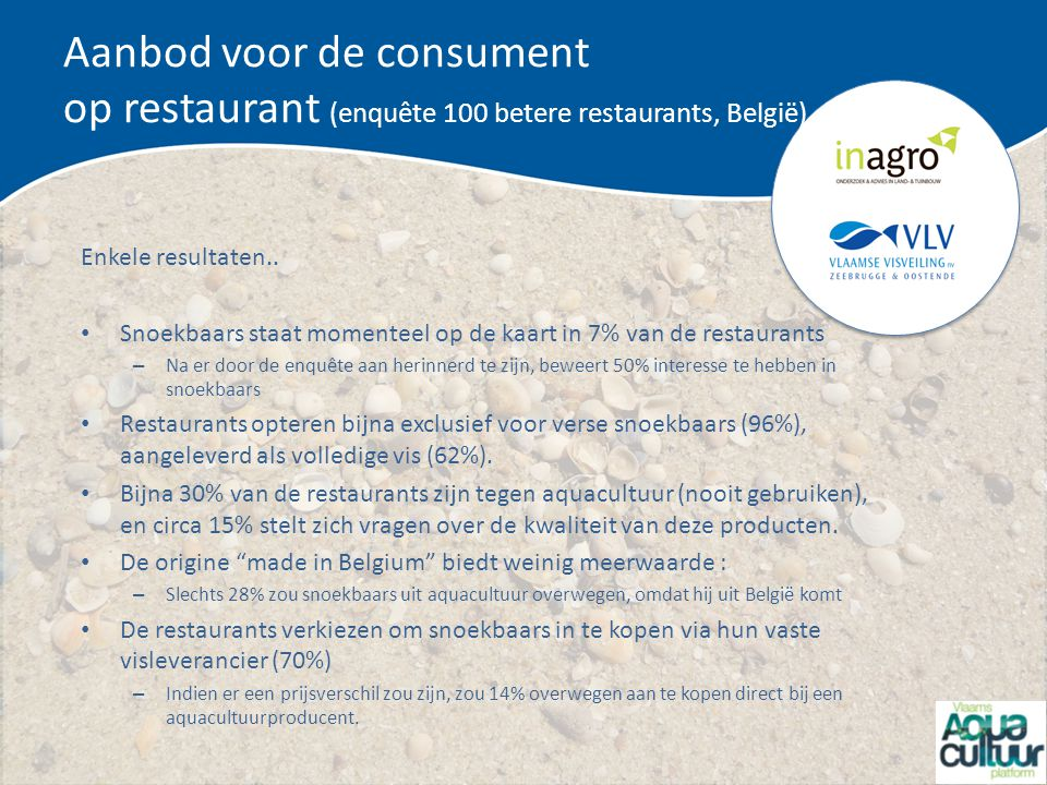Aanbod voor de consument op restaurant (enquête 100 betere restaurants, België)
