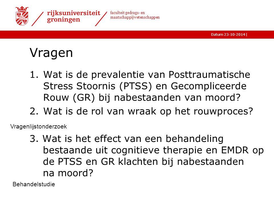 Vragen Wat is de prevalentie van Posttraumatische Stress Stoornis (PTSS) en Gecompliceerde Rouw (GR) bij nabestaanden van moord