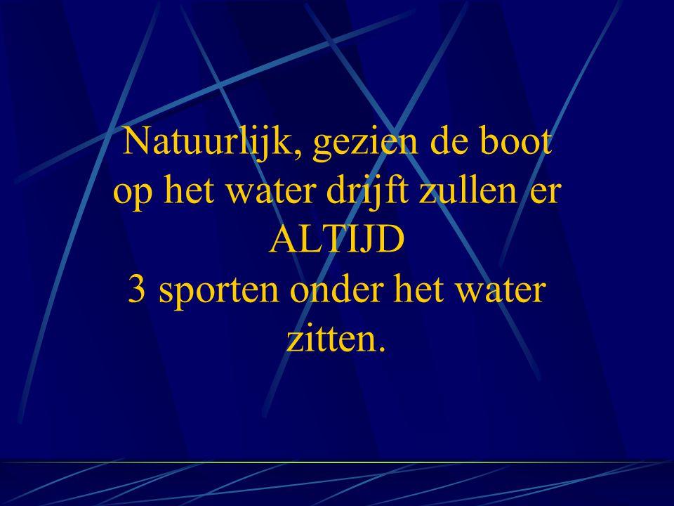 Natuurlijk, gezien de boot op het water drijft zullen er ALTIJD 3 sporten onder het water zitten.