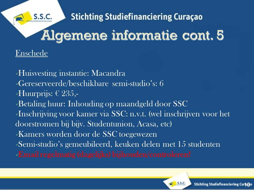 Algemene informatie cont. 5