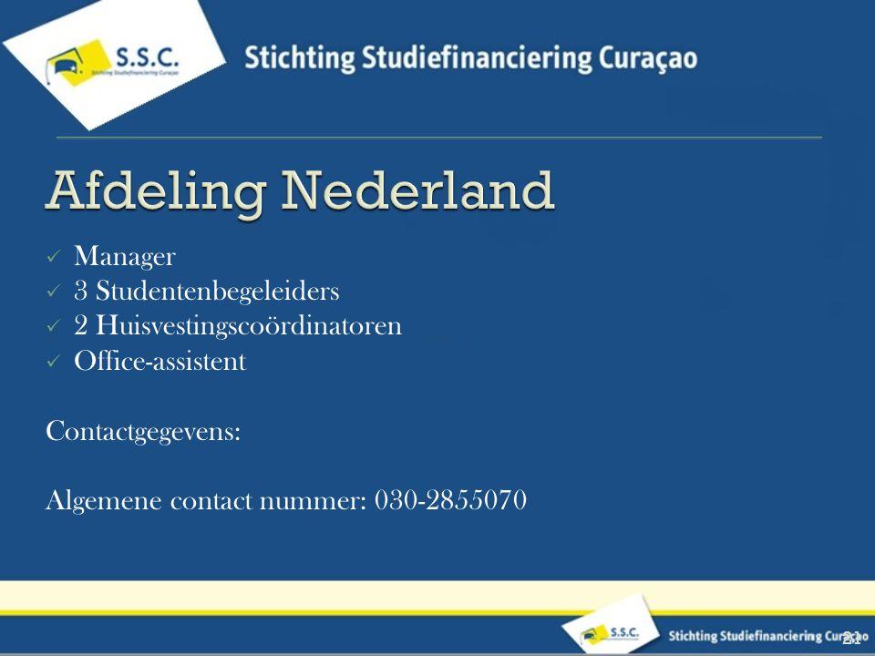 Afdeling Nederland Manager 3 Studentenbegeleiders